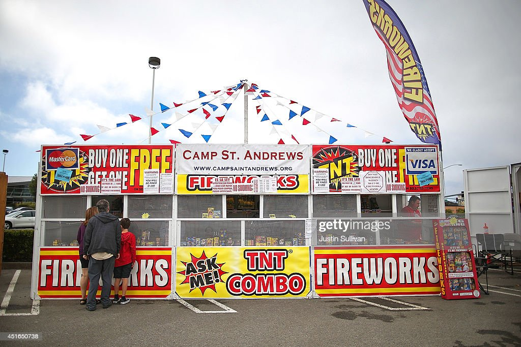 Customers shop for fireworks at the Camp St. Andrews fireworks stand on July 3, 2014 in San Bruno, California. As California's historic drought continues and fire danger is at severe levels, fire departments in the greater San Francisco Bay Area are on heightened alert as vendors in select cities in Santa Clara, San Mateo and Alameda counties sell fireworks ahead of the Fourth of July holiday.