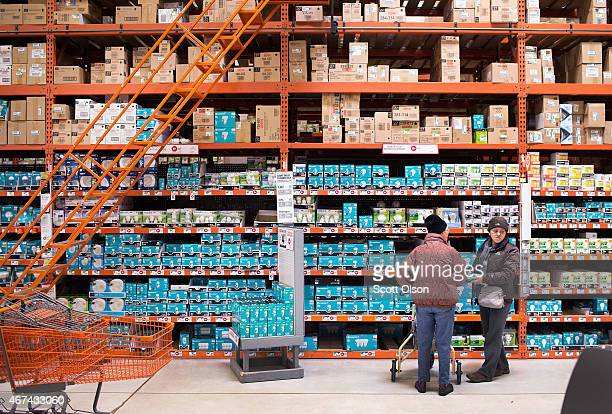 Customers shop for light bulbs at a Home Depot store on March 24 2015 in Chicago Illinois The Labor Department reported the consumerprice index rose...
