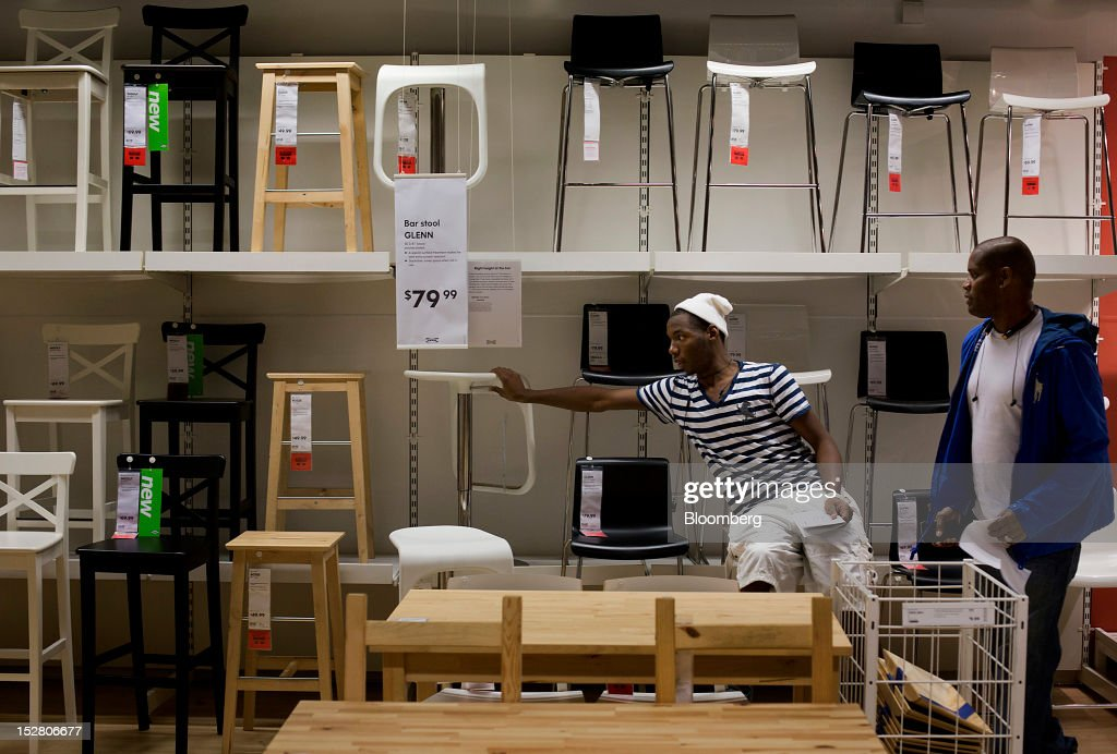 Customers Shop For Stools In The Showroom Of An Ikea Store In The Brooklyn Borough Of
