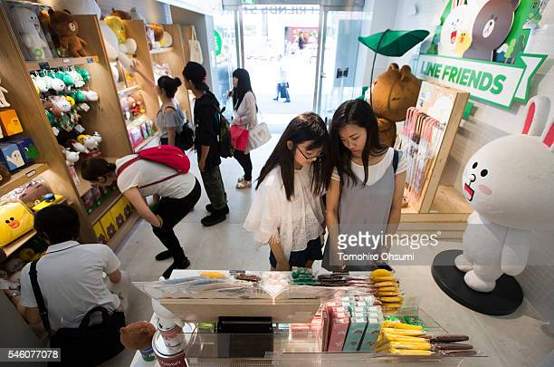 Customers shop inside Line Corp's LINE Friends Harajuku store on July 11 2016 in Tokyo Japan Japanese messaging app provider LINE Corp owned by South...