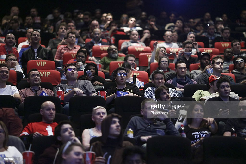 Customers sitting in their seats await the first public screening of Walt Disney Co's 'Star Wars The Force Awakens' at a Vue Entertainment Ltd cinema...