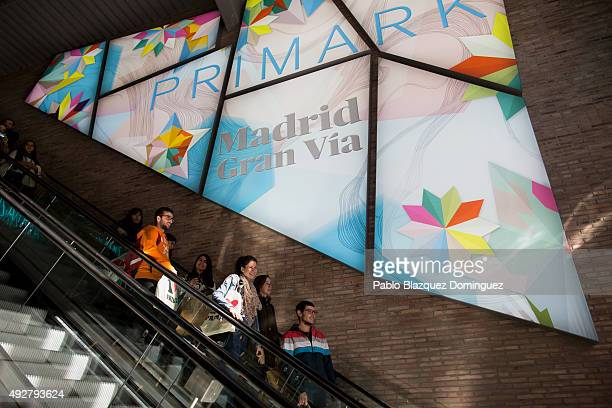 Customers use the escalators inside Madrid Gran Via Primark store during the inaguration day on October 15 2015 in Madrid Spain Primark opened today...