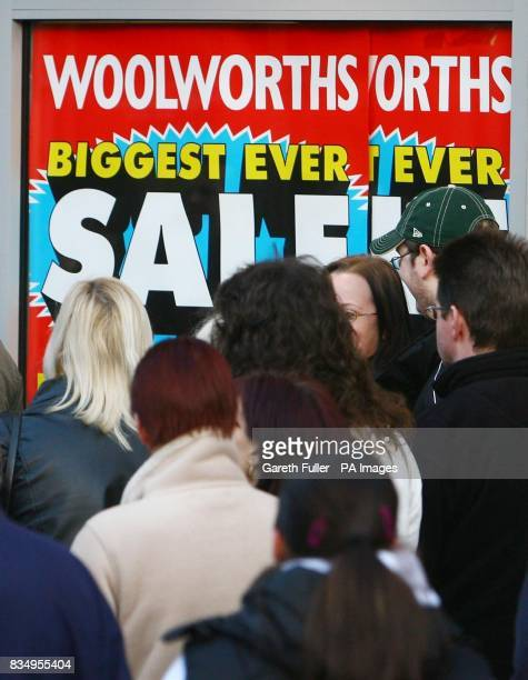 Customers wait for Woolworths in Ashford Kent to open for as the company struggles to find a buyer for its chain of stores
