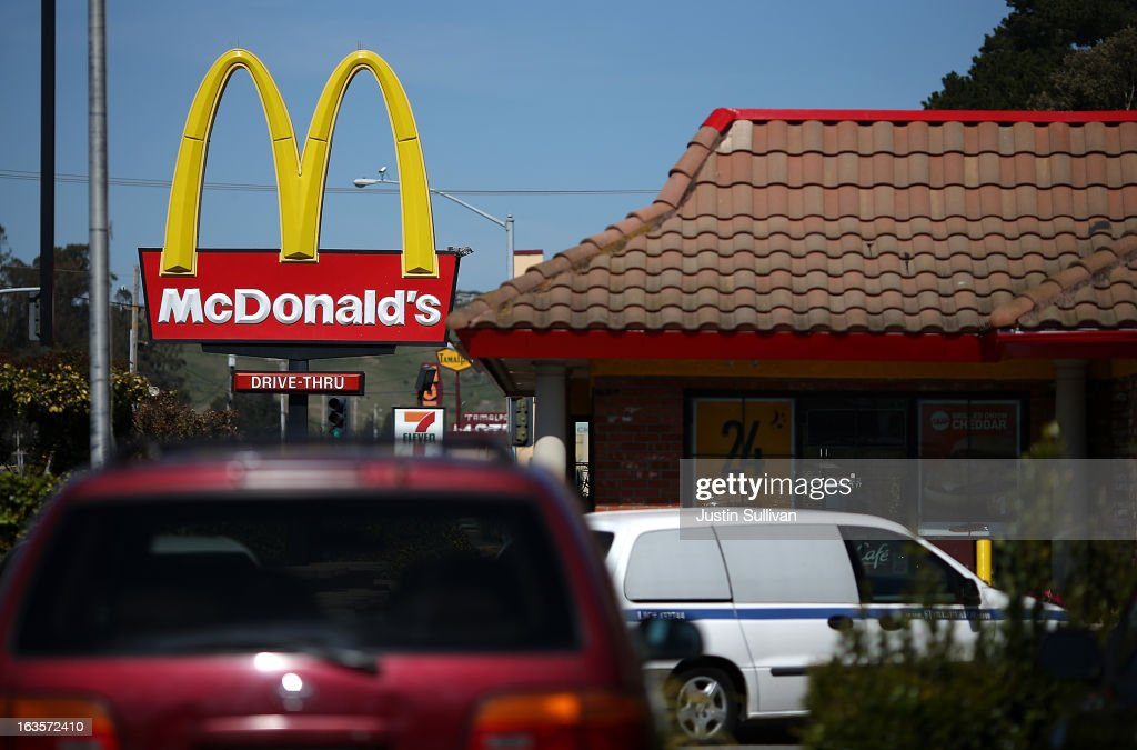 Customers wait in a drive through line at a McDonald's restaurant on March 12 2013 in Mill Valley California McDonald's has retained its number one...