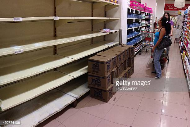 Customers walk by an empty shelf inside a private market in Caracas on June 17 2014 Acetone hair colorants deodorant razors makeup and even coffins...