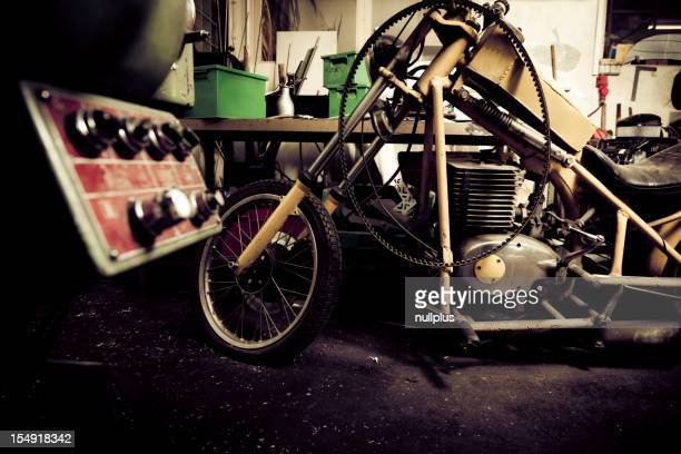 customized motorcycle in a workshop