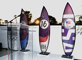 Customized Team USA surfboards at the Toast to Team USA Send Off presented by Bridgestone event at The Paley Center for Media on July 22 2016 in Los...