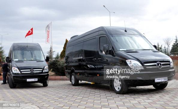 Custommade luxury vans are seen on January 28 2014 in Corum Turkey Custommade VIP minivans are being redesigned by an automative design company based...