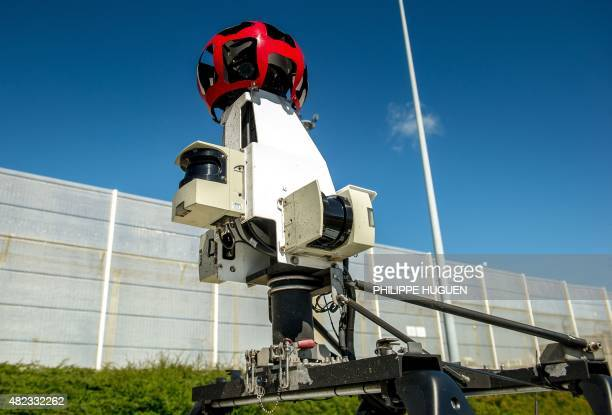 A custommade panoramic camera is seen on the roof of a Google Street View vehicle that collects imagery for Google Maps in Calais northern France on...