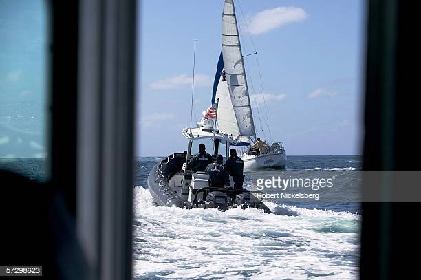 Customs and Border Patrol agents of the Marine Interdiction Unit search the horizon for Mexican human smuggling boats at the opening of the San Diego...