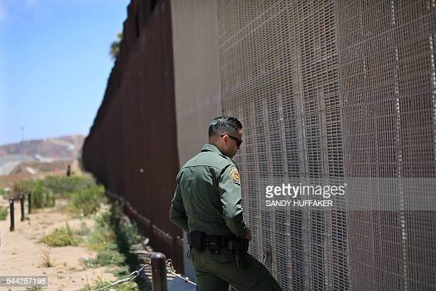 Customs and Border Protection agent patrols the United StatesMexico Border wall at Friendship Park in San Ysidro California on Saturday July 2 2016 /...
