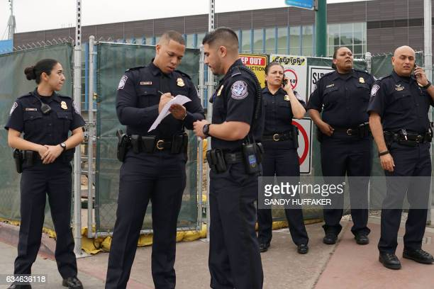 Customs and Border Protection agents at the San Ysidro Port of Entry on Friday February 10 2017 in San Ysidro California US Department of Homeland...