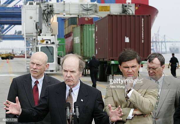 S Customs and Border Protection Commissioner Robert Bonner speaks as Maryland Transportation Secretary Robert Flanagan Maryland Governor Bob Ehrlich...
