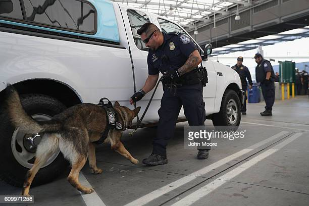 S Customs and Border Protection K9 unit checks vehicles crossing into the United States from Mexico on September 23 2016 in San Ysidro California...