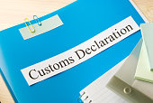 customs declaration on office table