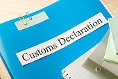 customs declaration on office table