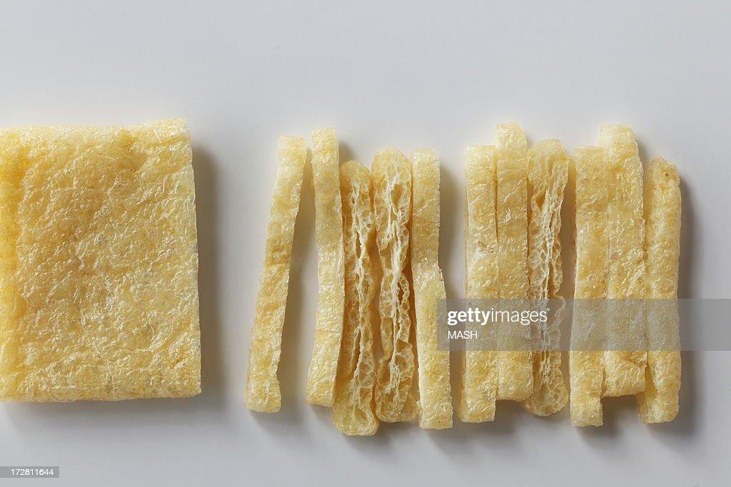 cut aburaage,a deep-fried tofu : Stock Photo