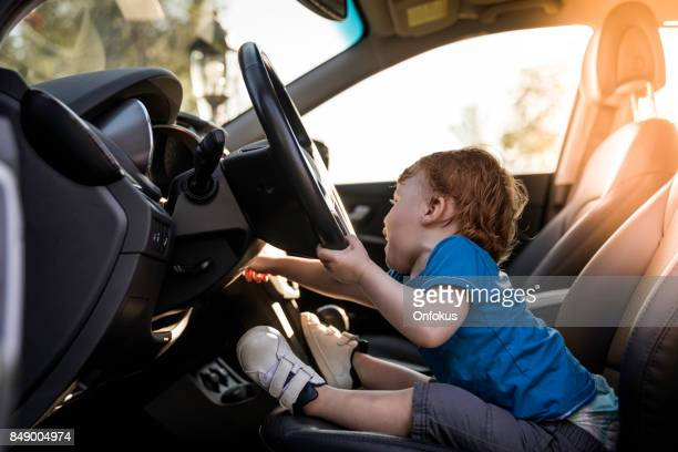 Cut Baby Boy Driving Car