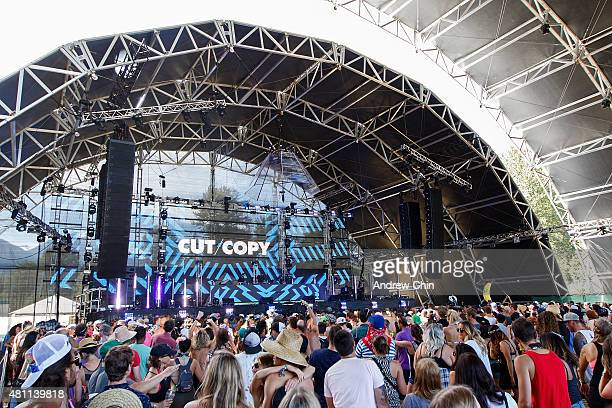Cut Copy performs onstage during the Pemberton Music Festival on July 17 2015 in Pemberton Canada