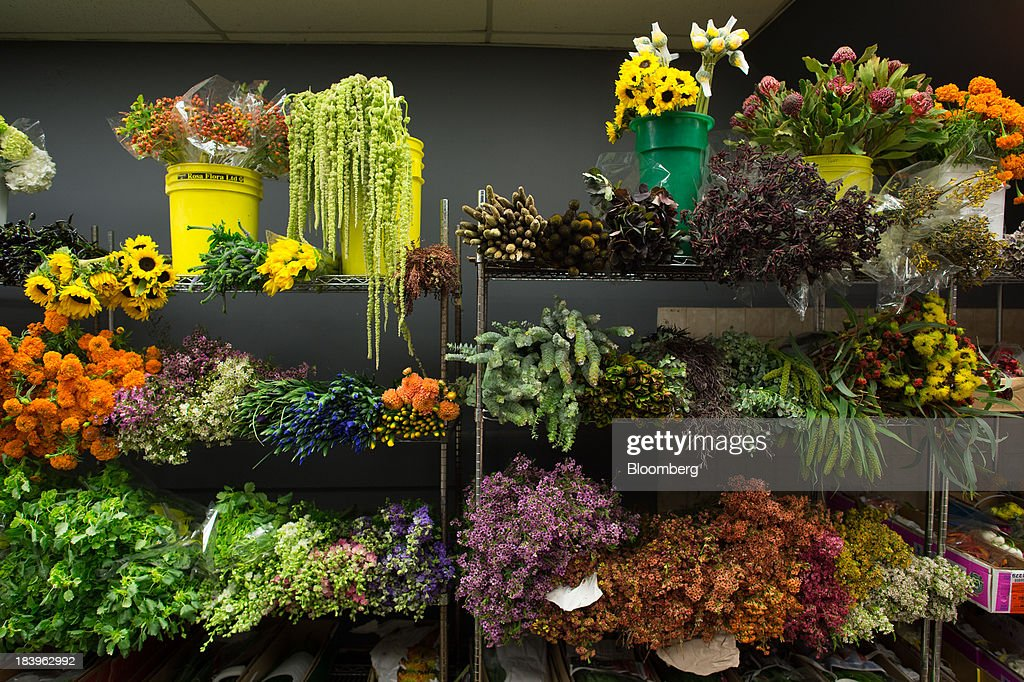 Cut flowers sit on display for sale at George Rallis Inc. wholesale flower shop in New York, U.S., on Monday, Oct. 7, 2013. Wholesale inventories figures, which were scheduled for Oct. 9 by the U.S. Census Bureau, will not be released due to the partial government shutdown. Photographer: Craig Warga/Bloomberg via Getty Images