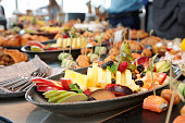 Various food on catering table, buffet at a reception