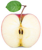 cut half an Apple with a green leaf isolated on white