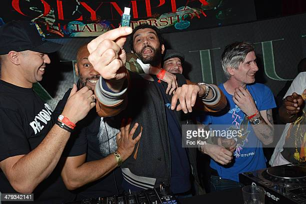 Cut Killer PapaLu Ramzy Bedia and Kavinsky attend the Kavinsky Olympia Concert After DJ Set Party at the VIP Room Theater on March 17 2014 in Paris...