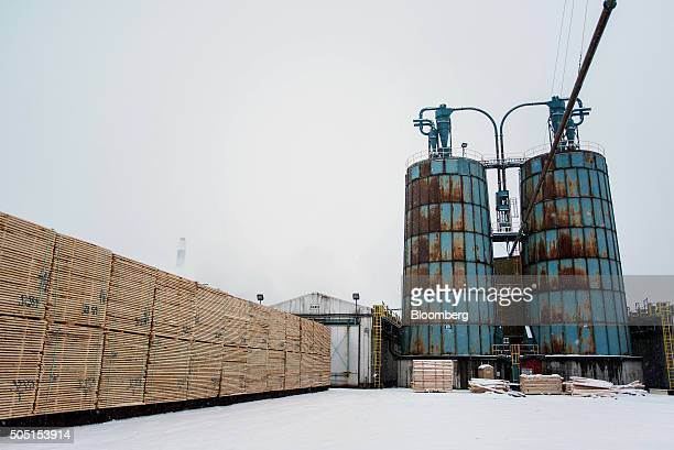 Cut lumber sits in the yard in preparation for drying at the Resolute Forest Products mill in Thunder Bay Canada Ontario on Friday Jan 8 2016...
