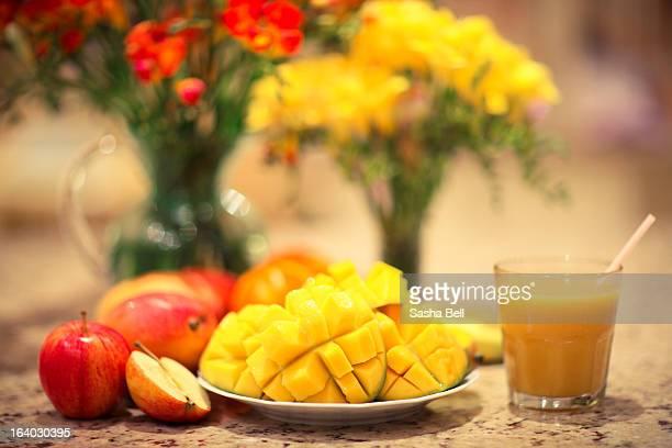 Cut Mango and Mango Smoothie