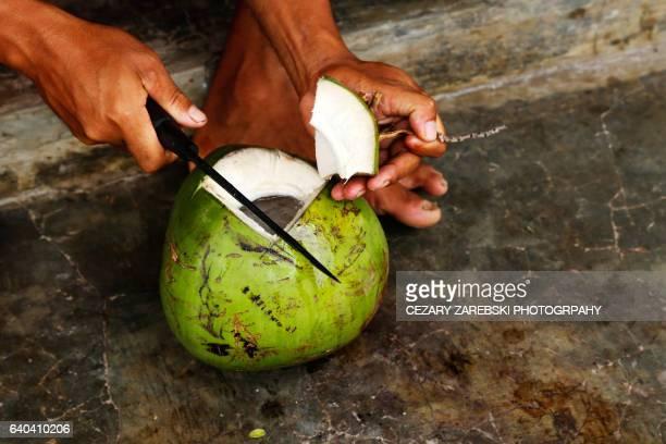 Cut open coconut for coconut water