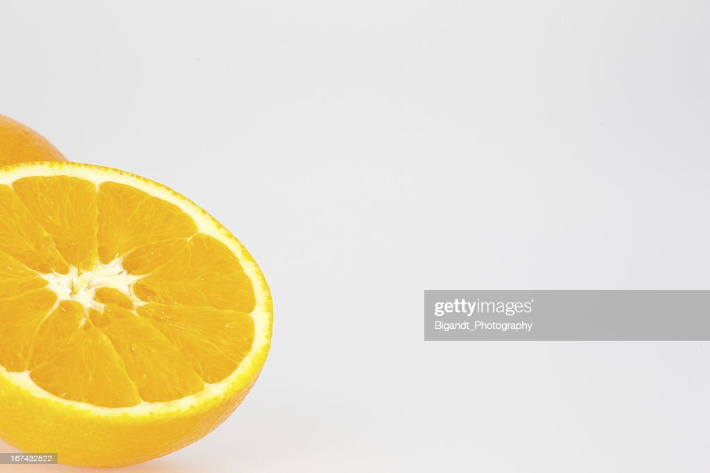 Cut Orange with White Space : Stock Photo
