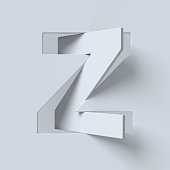Cut out and rotated font 3d rendering letter Z
