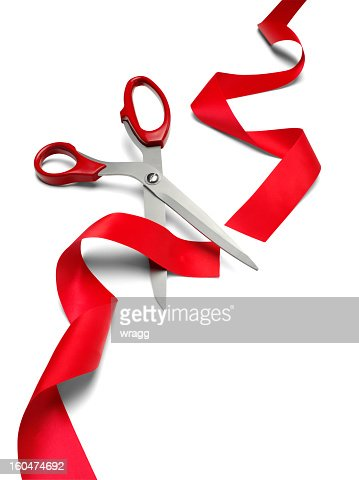 Cut Red Ribbon and Scissors