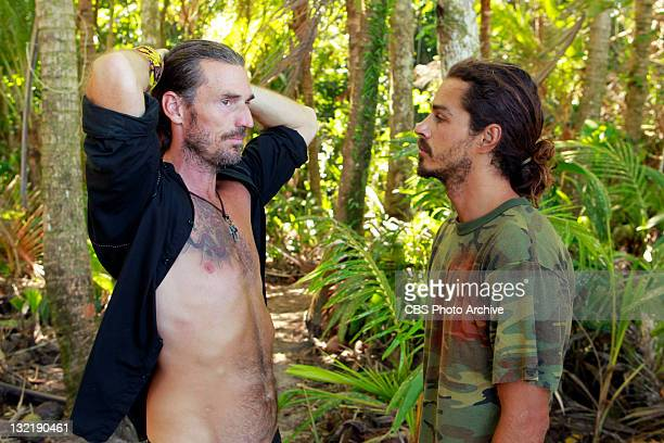 "'Cut Throat' – Benjamin ""Coach"" Wade and Ozzy Lusth of the Te Tuna tribe during the ninth episode of SURVIVOR SOUTH PACIFIC Wednesday Nov 9 on the..."