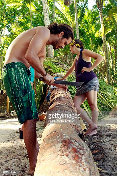 'Cut Throat' – Ozzy Lusth and Sophie Clarke and Dawn Meehan of the newly merged Te Tuna tribe during the ninth episode of SURVIVOR SOUTH PACIFIC...