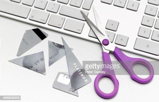 Cut up credit card on keyboard