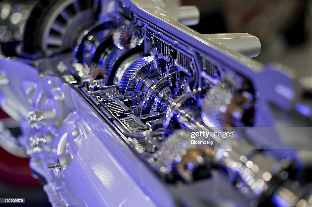 A cut-away version of a Chrysler eight-speed automatic transmission sits on display at the Chrysler Group transmission plant in Kokomo, Indiana, U.S., on Thursday, Feb. 28, 2013. Chrysler Group LLC, the automaker majority owned by Fiat SpA, will invest about $374 million and add 1,250 jobs at Indiana factories to boost output of eight-and nine-speed transmissions. Photographer: Daniel Acker/Bloomberg via Getty Images
