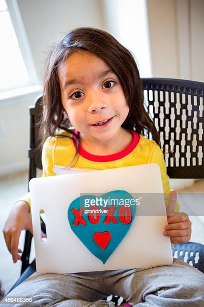Cute 5 Year Old Girl with Clay Valentine
