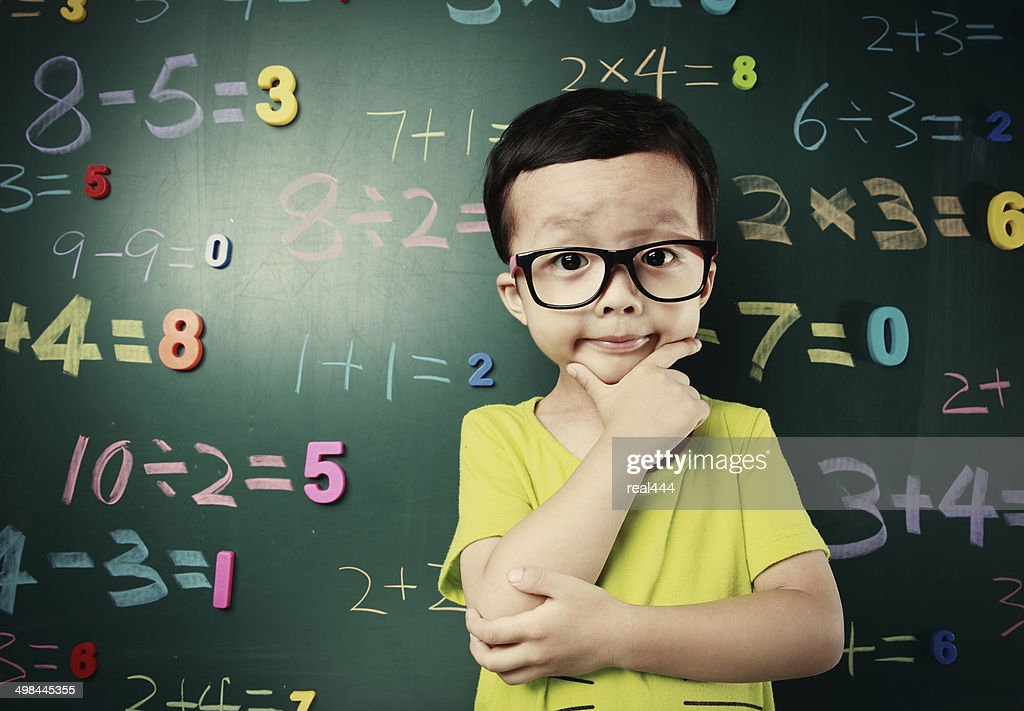 Cute asia children do arithmetic : Stock Photo