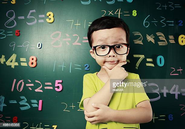 Cute asia children do arithmetic