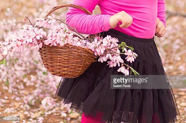 Cute basket with cute pink flowers