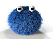 3d render of a cute blue furry monster.