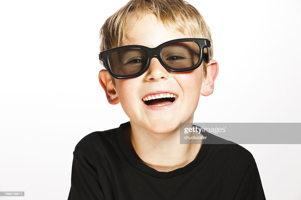 Cute Boy Wearing 3d Glasses Stock Photo | Getty Images
