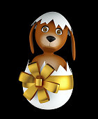 Cute cartoon dog with easter eggs isolated on black background. 3d rendering