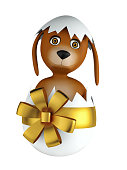 Cute cartoon dog with easter eggs isolated on white background. 3d rendering