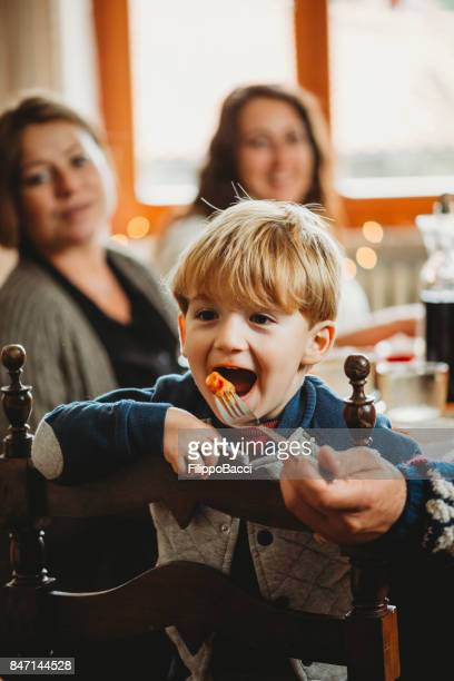Cute child during Christmas lunch