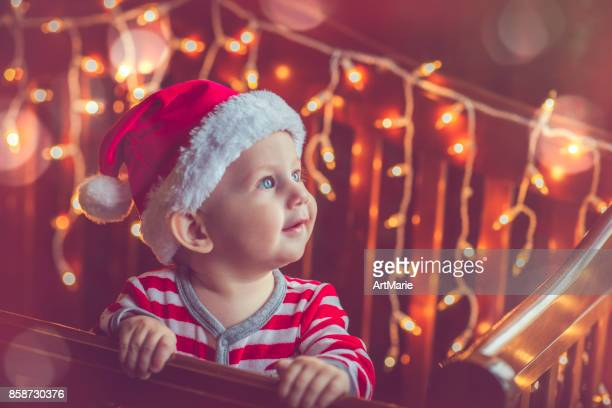 Cute child in pajamas in Christmas