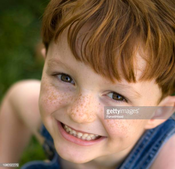Cute Child Smiling, Happy Redhead Freckle Face Boy Laughing