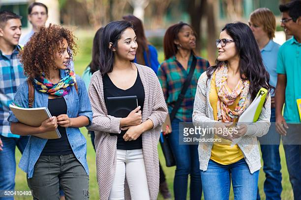 Cute college girls talking together on campus