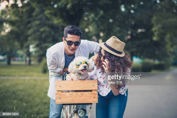 Cute couple with their funny dog